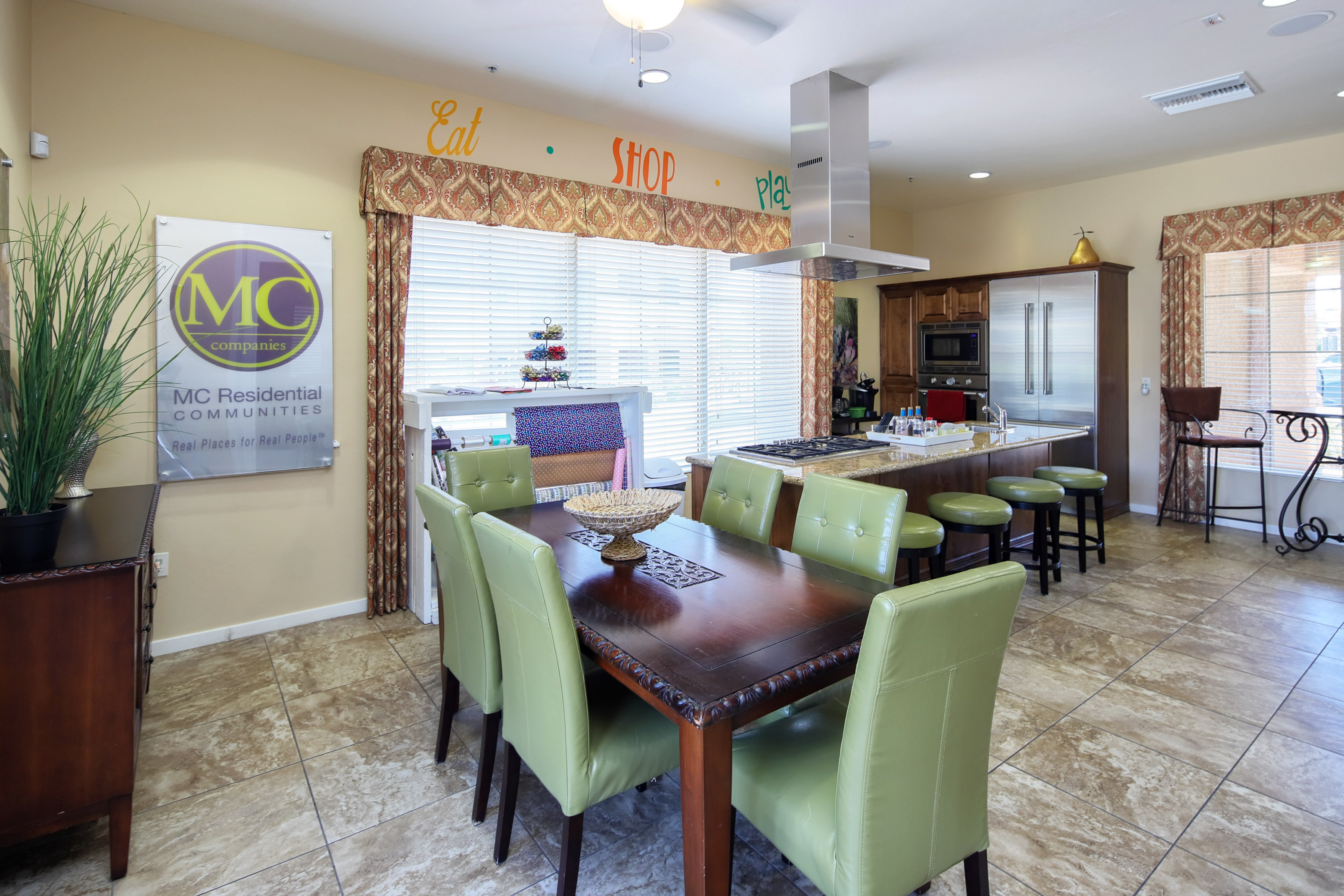 upscale clubhouse and gathering space with full hosting kitchen